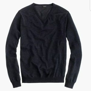 J Crew Slim Merino V-neck Sweater L Dark Gray
